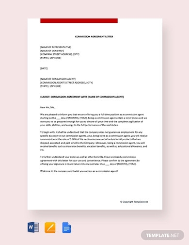 free commission agreement letter