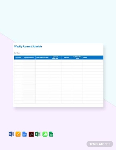 free weekly payment schedule template