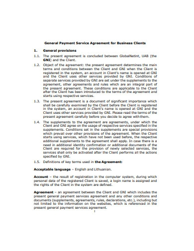 general payment service agreement