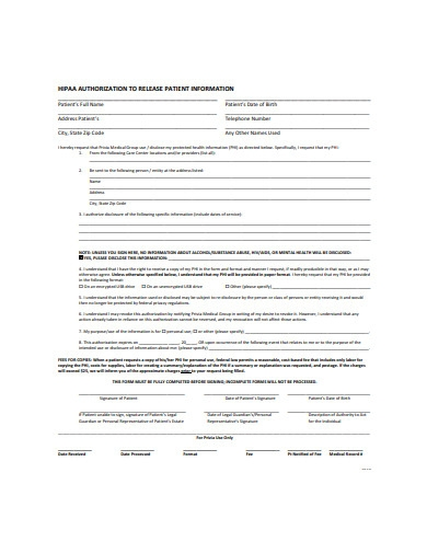 hipaa release of authorization form