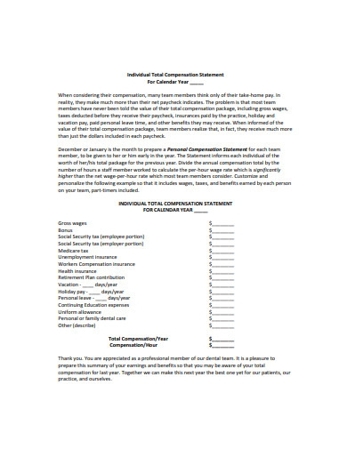 individual total compensation statement
