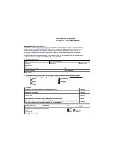 installment payment contract format