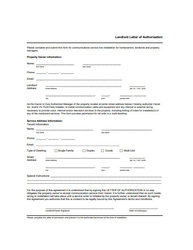 landlord letter of authorization