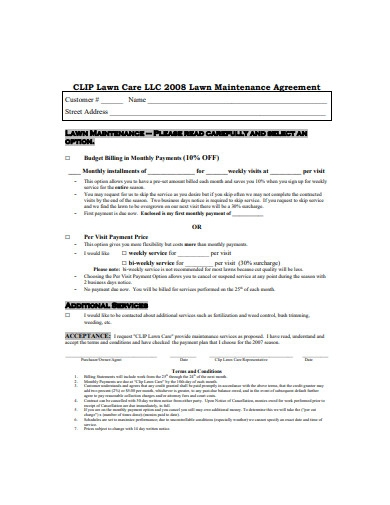 lawn care agreement example1