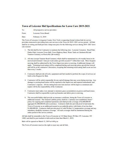 lawn care bid format