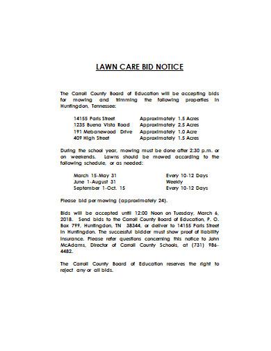 lawn care bid notice example