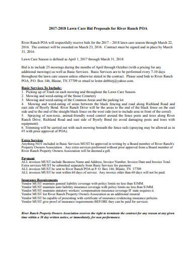 lawn care bid proposal