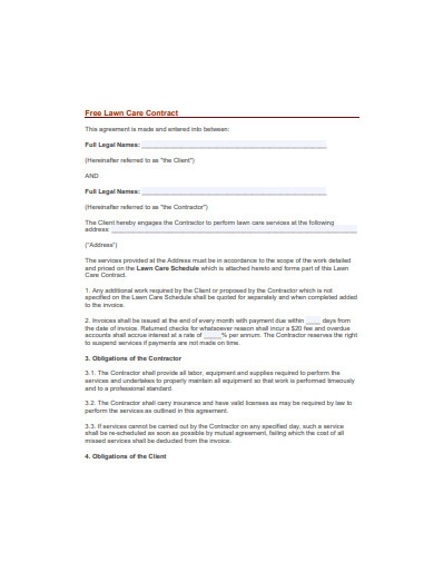 lawn care contract format