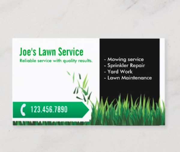 lawn care landscaping professional mowing business card