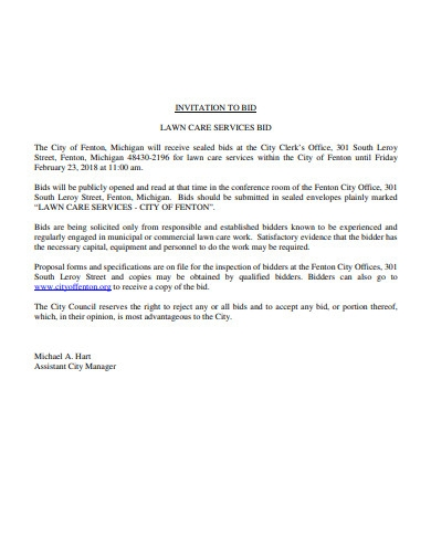 lawn care services bid