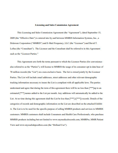 licensing and sales commission agreement