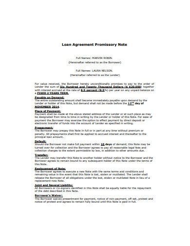 loan agreement promissory note