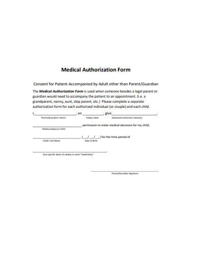 medical authorization form sample