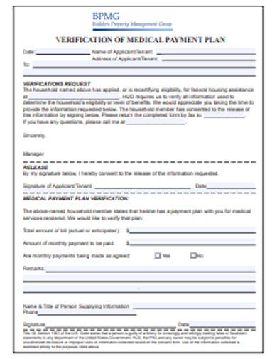 medical payment plan format