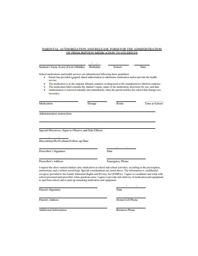 parental authorization and release form