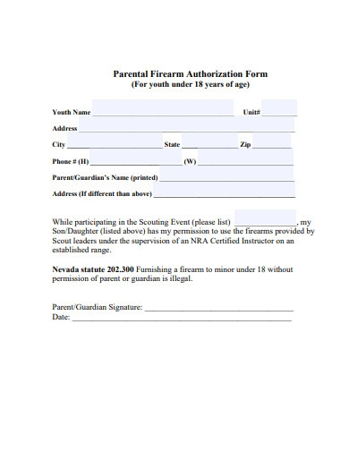 parental firearm authorization form