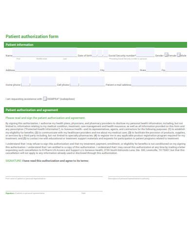 patient authorization form sample