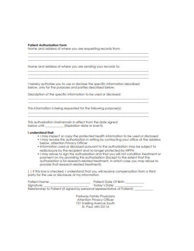 patient authorization form