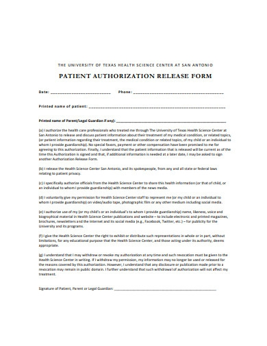 patient authorization release form sample