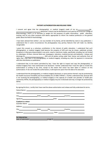 patient authorization and release form