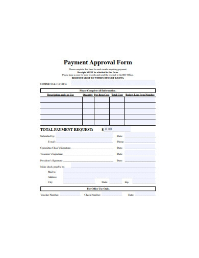 payment approval form sample