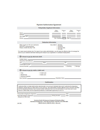 payment authorization agreement
