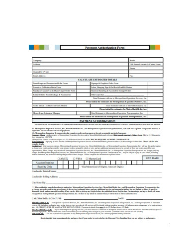 payment authorization form example