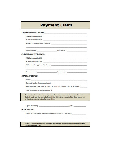payment claim example