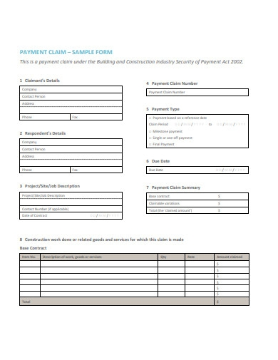 payment claim form sample