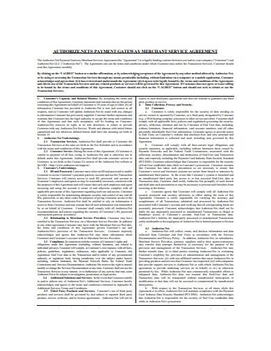payment gateway merchant services agreement