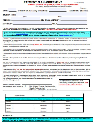 payment plan agreement example