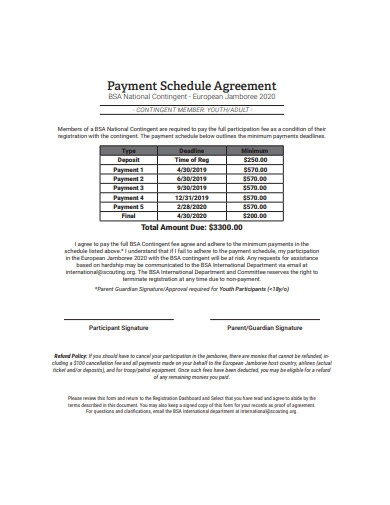 payment schedule agreement