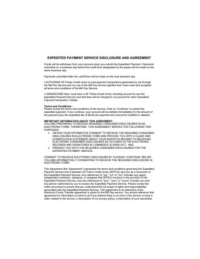 payment service disclosure and agreement