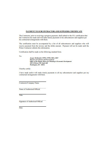 payment to subcontractor and suppliers certificate
