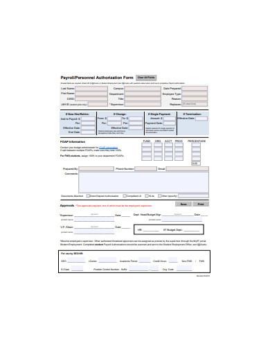 payroll authorization form