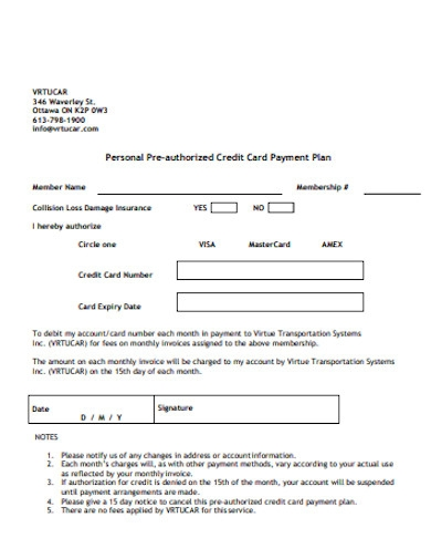 personal pre authorized credit card payment plan