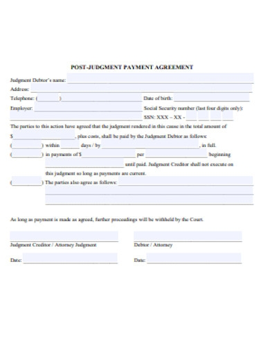 post judgement payment agreement