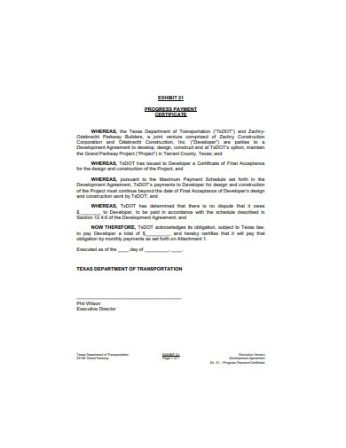 progress payment certificate example