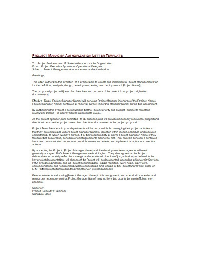 project manager authorization letter