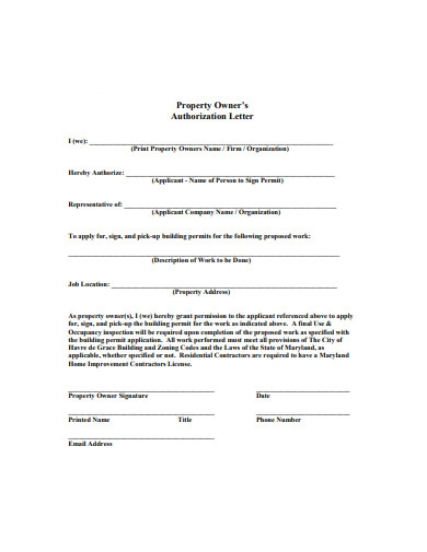 property owner authorization letter