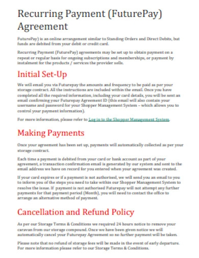 recurring payment agreement format