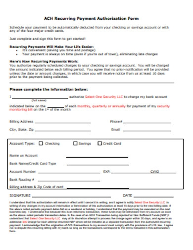 recurring payment authorization form in pdf
