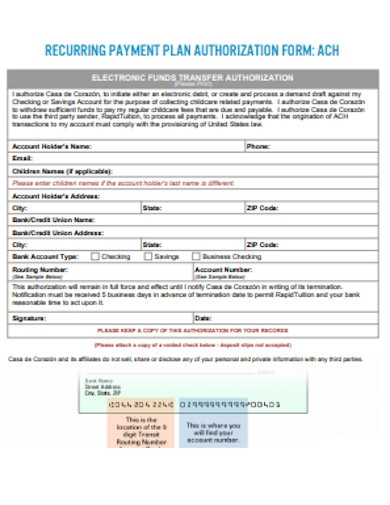 recurring payment plan authorization form