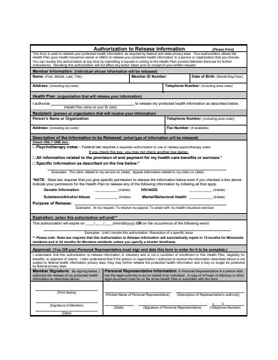 release of authorization information form