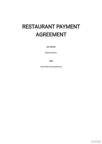 restaurant payment agreement template