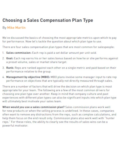 sales financial commission plan example