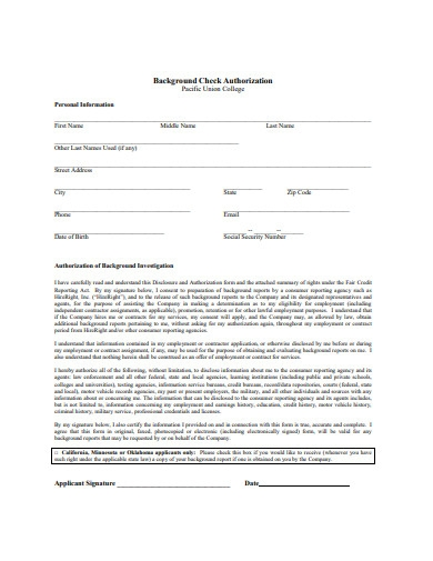 sample background check authorization