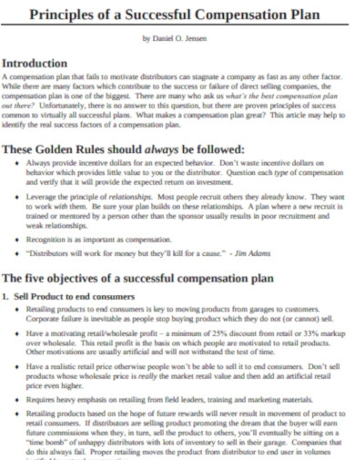 sample compensation plan example