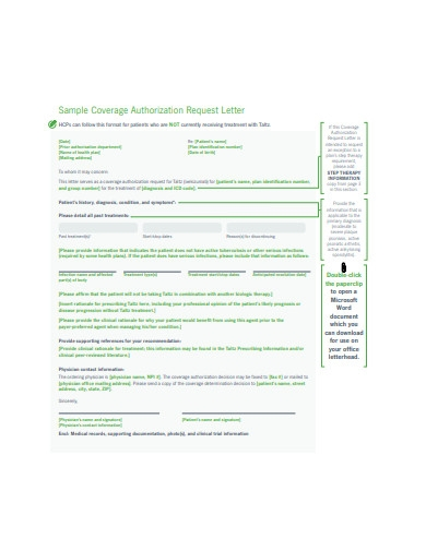 sample coverage authorization request letter