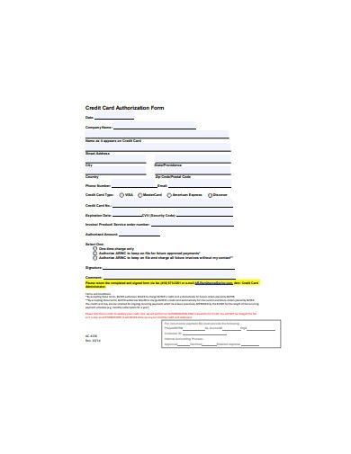 sample credit card authorization form